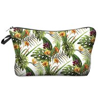 Wholesale Small Cosmetic Bag D Printing Tropical Flower Women Fashion Brand Travel Makeup Case Christmas Gift H44