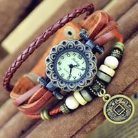 El ENVÍO de cuero negro de la pulsera de cuero de la armadura del cuarzo del dial de bronce de la manera del negro alrededor de la señora reloj de pulsera libera el envío