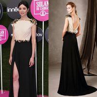 Wholesale Front Split Evening Dresses Celebrity Dresses Bateau Cap Sleeve Sheath Sequins Baeds Sexy Backless Black Prom Formal Party Gowns