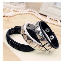 american trading international - international fashion pun rock rivet Bracelet Leather unisex Jewelry Accessories trade snap Valentine Day
