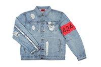 Wholesale 2016 Newest TOP KANYE WEST season large PABLO men jackets hiphop god of fear four four two broken hole jean jacket