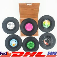 Wholesale CD Records Coaster Creative Decor Coffee Drink Placemat Tableware Spinning Retro Vinyl CD Record Drinks Coasters Set XL G20