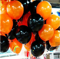 Wholesale halloween balloon combo inch grams of Pearl balloon smooth strong decorative balloons orange and black balloons