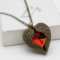 Wholesale Women Peach Heart Wings Pendant Multi Slice Gem Sweater Chain Necklace Jewelry
