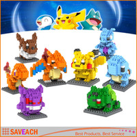 Wholesale Pikachu Figures Model Toys Charmander Bulbasaur Squirtle Mewtwochild Eevee Child Christmas gift Anime Building Blocks