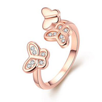 Wholesale 1pc size jewelry that Popular elegant rose gold butterfly opening ring for women girls