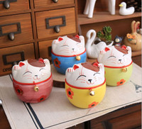 Wholesale Lovely Ceramic Cat Design Coin saver Mix Color Lucky cat Money Box Cartoon Coin Storage House Decor