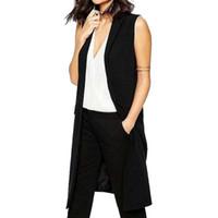 Wholesale HA10 Fashion office lady Elegant jackets Vests For Women Sleeveless black Long Outerwear Casual brand colete feminino coats