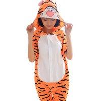 animal jumping games - Jump Tigger Unisex Adult Cotton Short Sleeve Hooded Pajamas Adults Cosplay Cartoon Animal Onesies Sleepwear Summer Homewear