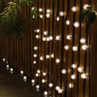 Wholesale Solar Lamps M LEDs Colorful Snowball Decoration Snowflake luz garland Waterproof Christmas Garden Outdoor solar led string