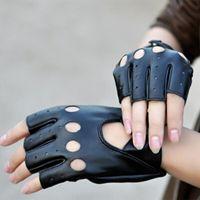 achat en gros de doigts demi gants d'hiver-Gants Femmes Mitaines en cuir noir synthétique doigt à moitié Gants Gants d'hiver pour la danse Motorcycle Driving