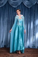 alice queen costume - 2016 New adult elsa Cinderella costume Alice Princess high quality blue Snow Queen cosplay costume party halloween costumes for women