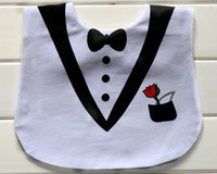 Wholesale Personality D Bibs Tuxedo with Bow Tie Prince Boy Princess Feeding Baby Bibs