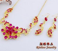 antique bridal sets - Colorful flower necklace sets antique pendant necklaces long earring sets rhinestone jewelry love jewelry bridal jewelry sets