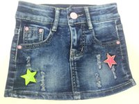 beaded jeans skirts - Jeans skirt Factory New short Skirt above Knee Ripped Jewelry Inlaid Baby Kids Above Knee Elastic Jeans