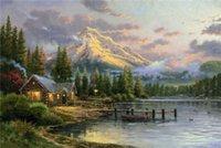 arts hideaway - High tech Thomas Kinkade HD Print Oil Painting Art On Canvas lakeside hideaway x36inch Unframed