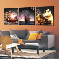 ancient ship pictures - Pieces unframed Home decoration picture Canvas Prints The ancient sailing boat mountain lake river sea reef grassland flower