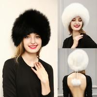 Wholesale 2016 New Womens Faux Fur Hat Cap Fashion Black White Grey Pom Pom Beanie Hats Winter Warm Party Caps Accessories CJF0921