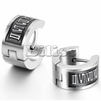 Wholesale Punk Mens L Stainless Steel Hoop Huggie Earrings Vintage Simple Roman Numerals Men Jewelry Silver Color mm Width