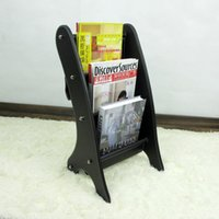 Wholesale wooden struction leather floor magazine newspaper exhibition display rack shelf organizer holder black A