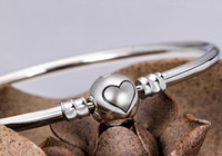 ball clasps - New Silver Silver Plated Heart Bracelet Women Jewelry For DIY Bead Charm Ball Clasp Clip Fit Pandora Bracelets Bangles Bracelets
