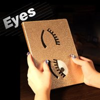 Wholesale Big Eyes Pattern Shimmering Powder PU Leather Smart Case Cover For Apple iPad Air Mini Stand Cases