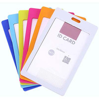 Wholesale Stylish High quality Colorful plastic Business ID Badge Card Vertical Holders with Neck Strap Lanyard