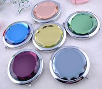 Wholesale Engraved Cosmetic Compact Mirror Crystal Magnifying Make Up Mirror Wedding Gift colors Makeup Tools Free Ship