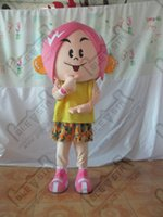 Wholesale Pink hair yellow T shirt girl cartoon mascot costume