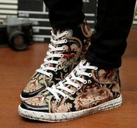 baseball paintings - New Fall Men Casual Sports Shoes Fashion High top Skateboard Men s National Wind Canvas Shoes Hip Hop Printing Hand painted Shoes