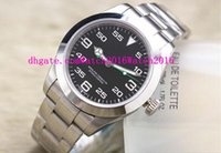 airs steel wristwatch - Top Quality Luxury Wristwatch Brand Men Watch Stainless Steel Strap AIR KING Black Dial Green Pointer Automatic Movment Sapphire