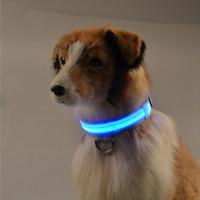 Wholesale Shiny Pet Dog Collars Puppy Leads Pet LED Light Collars Mascotas Cachorro Large Dogs Luminous Neck Ring Harness free dhl