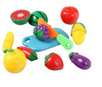 Wholesale 2016 Hot sale Realistic teaching baby Fruits cuting Toys Set the fruit puzzle Funny toys safety toys for Kids Free Shiping