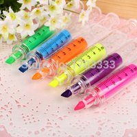 Wholesale 2016 new Novelty Nurse Needle Syringe Shaped Highlighter Marker Pen Photo Album Stationery School Supplies Color random