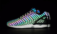 Wholesale The chameleon men s and women s shoes ZX FLUX XENO new reflective black snake spirit leisure shoes