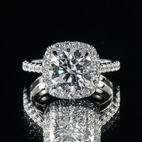 Wholesale 3 ct GIA Round K Rounded Corner Halo Pave Engagement Ring F VS2