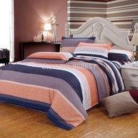 Wholesale girls cheaper cotton fabric bedding set pc duvet quilt cover flat sheet pillow sham full queen coral medium purple striped
