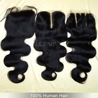 Wholesale A Brazilian Body Wave Lace Closure Bleached Knots x4 Free Middle Part Unprocessed Virgin Brazillian Human Hair Top Closures