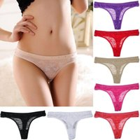 Wholesale Women s Girl s Sexy Lace Lingerie V string Briefs Panties Floral Thongs Shorts Underwear Underpants NX200