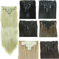 Wholesale 7pcs set g Clip in hair extensions Synthetic straight hair pieces inch Clip on hair extensions more color
