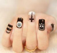 Wholesale Flash powder texture nails stick Nail stickers natural beautiful nail stickers