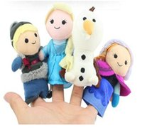 Wholesale New toys in box Frozen Finger Puppet Set of Four Stuffed Toys Finger Dolls Baby Toys Olaf Kristoff Anna Else Plush doll set of