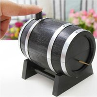 Wholesale 2016 Wine Barrel Plastic Automatic Toothpick Box Container Dispenser Holder Popular New Randon Color