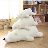Cheap High quality 55cm 75cm liv heart sea bear Stuffed Animals Plush toy doll model sofa soft white sleepy bear Hold pillow kids gift