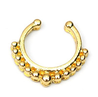 Wholesale 0606 Nose Ring nose hook Nose Rings Body Piercing Jewelry Fake Septum Clicker Non Piercing Hanger Clip On Women Body Jewellry