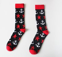 anchor socks - new arrival mens brand new superheroes cotton socks creative star anchor pattern crew long tube big size socks for mens team competition