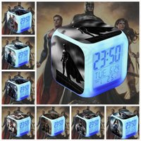 Wholesale 15 design LJJK129 Hottoys HT BVS digital Alarm LED Clock Light Control Backlight Thermometer Movie Character batman Alarm Clock