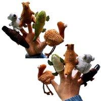 al por mayor felpa ornitorrinco-5 australianos Animales koala canguro Platypus Emu cocodrilo marionetas de dedo de la felpa de terciopelo animales marionetas de mano del paño de los niños marioneta animal del dedo