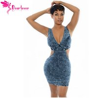 acid wash denim dress - Dear Lover Sexy Fashion Cutout V neck Acid Wash Back Zip Mini Denim Bodycon Women Slim Jeans Dress cowboy sundress LC22545