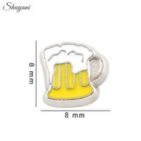 beer charms - Silver Plated Beer Charms Pendant Living Locket Charms for Bracelet DIY Floating Locket Charms